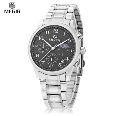 MEGIR M5007G Male Quartz Watch Date Display Working Sub-dial Moon Phase 3ATM Wristwatch