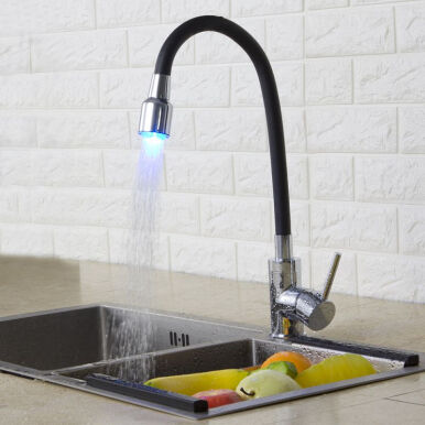 LANGFAN J6209 LED Black Color Kitchen Sink Flexible Faucet