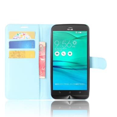 GANGXUN Asus Zenfone GO ZB552KL Case High Quality PU Leather Flip Cover Kickstand Magnetic Wallet Cover for Asus Zenfone GO ZB552KL-Blue