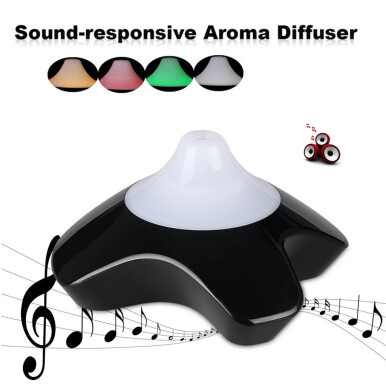 Excelvan Sound Responsive Essential Oil Aroma Diffuser Ultrasonic Humidifier Air Mist Aromatherapy Purifier Black GX-08K EU