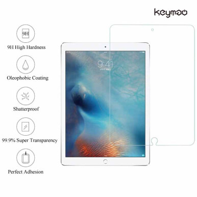 Keymao - Tempered Glass screen protector for Apple  NEW iPad 2018 -transparent