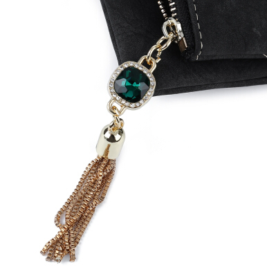 Guapabien Rhinestone Embelllished Tassel Dull Plish Buckle Horizontal Wallet for Lady