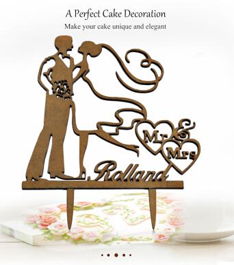 Mr Mrs Bride Groom Pattern Romantic Wedding Cake Topper Decoration