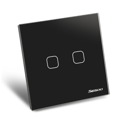 SESOO Smart Touch Light Switch 2 Gang 1-way Intelligent Controller Crystal Panel with Remote Control