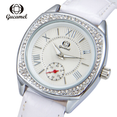 Gucamel BL057 Women Quartz Watch Stopwatch Leather Band Luminous Wristwatch