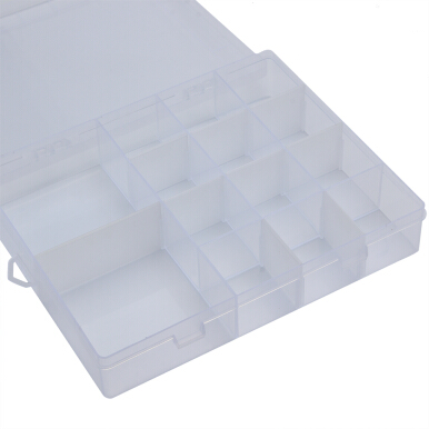 Detachable 14 Compartments Transparent Plastic Jewelry Bead Storage Box