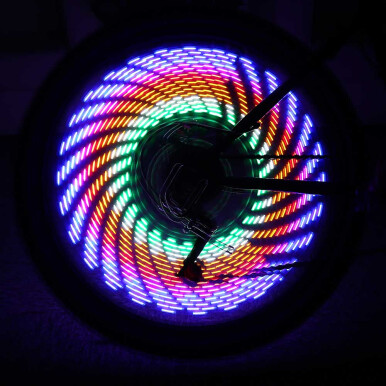 Cycling Bicycle Bike Water Resistant Colorful 16 LEDs 42 Patterns Spoke Wheel Light