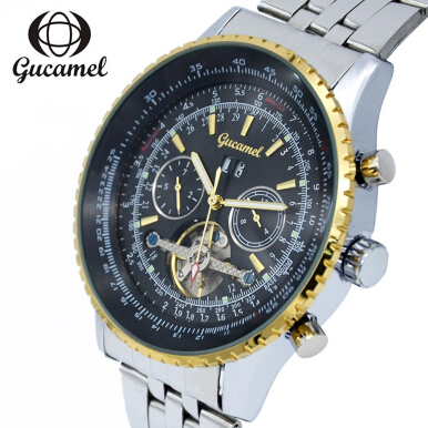 Gucamel GC034 Male Auto Mechanical Watch Tourbillon Calendar Luminous Stainless Steel Band Wristwatch