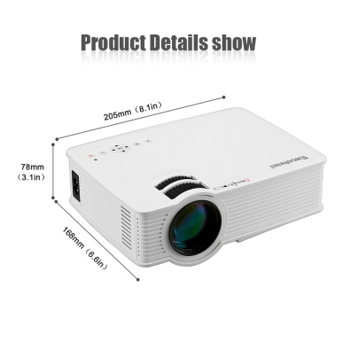 Excelvan EHD09(GP9) LED Projector 800x480 1200 Lm with HDMI cable EU Plug (White)