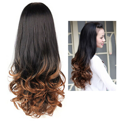 Women Long Curly Wavy Half Hair Wigs Heat Resistant Gradient Color Beauty Style