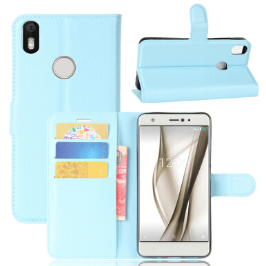 GANGXUN BQ Aquaris X Pro Case High Quality PU Leather Flip Cover Kickstand Anti-shock Wallet Case for BQ Aquaris X-Blue