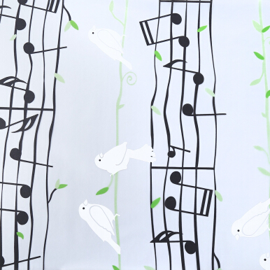 Removable Window Bathroom Showcase Film Cover Wallpaper Decor - Musical Note Pattern