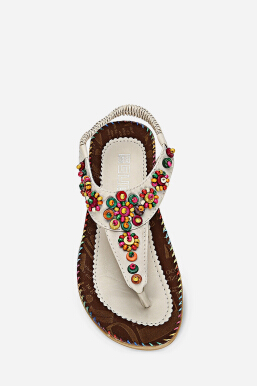 Trendy Toe Post Beaded Flat Sandals Beach Women Shoes