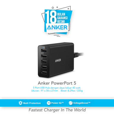 ANKER PowerPort 5 40w 5-Port Desktop Charger For EU - Black [A2124L12]