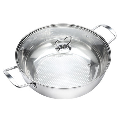 Thick Stainless Steel Fondue Soup Pot Cookware with Glass Lid