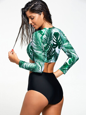 Long Sleeve Tropical Leaf Print Diving Wetsuit