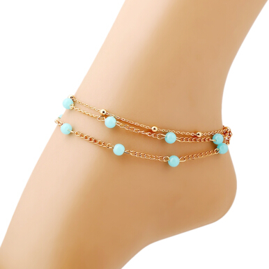 Three Layers Gold Plated Chain Ladies Beads Toe Anklet