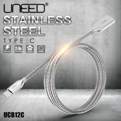 UNEED Stainless Steel Cable Data Type C Fast Charging 2.4A - UCB12C