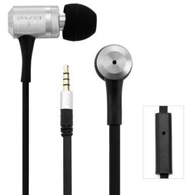 Awei ES100i Earphone 1.2m With Mic For Mobile Phone Tablet PC