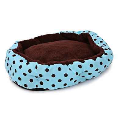 Soft Washable Polka Dot Pet Dog Cat Bed House Nest Pad with Removable Cushion