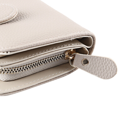 Guapabien Brief Zip Around Mini Card Purse for Women KHAKI