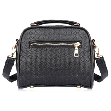 Guapabien Lady Weave Rivet Handbag Tote Shoulder Messenger Crossbody Bag