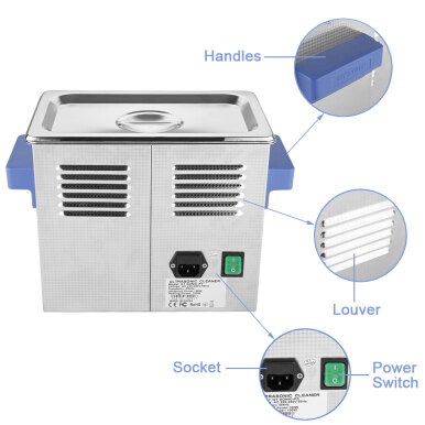 3L Ultrasonic Cleaner Heating Timer Power Adjustable Stainless Tank EU
