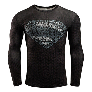 New fashion men's sports and fitness perspiration high elastic long-sleeved T-shirt