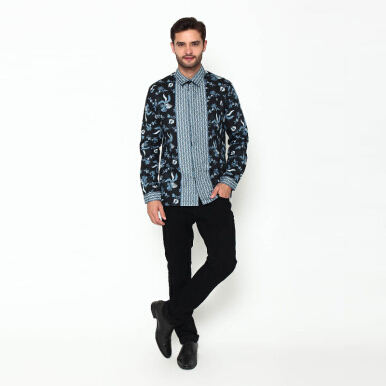 A&D Men Batik Shirt Long Sleve Ms 804 - Navy (S)