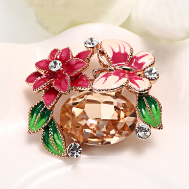 Cute Butterfly Flower Leaf Cubic Zirconia Brooch for Women