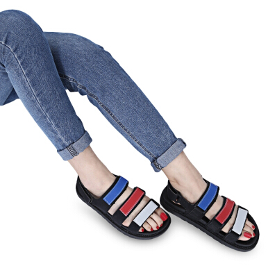 Open Toe Patchwork Magic Tape Ladies Platform Sandals