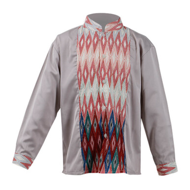 LITTLE SUPERSTAR Koko Shirt 2 Tone LS Grey Batik Red Line A038B [3 - 4 S]