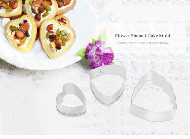3pcs Ranunculus Flower Stainless Steel Fondant Cake Cutter Baking Mold