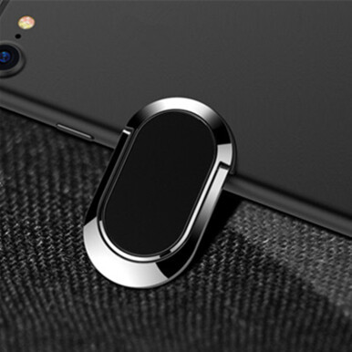 3 in 1 Metal Strong Adhesive 360 Degree Rotation Finger Ring Stand Phone Holder for Samsung iPhone Black