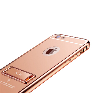 RockWolf iPhone 6 plus/6+ case Mirror stand acrylic anti-fingerprint mobile phone protection shell Rose Gold