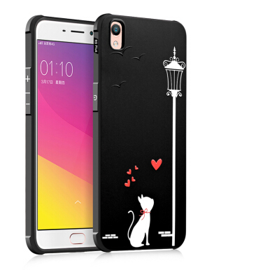 Sentum OPPO R9 case High-definition embossed painted frosted skidproof hand feel phone case-Black cute-bear