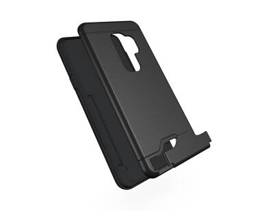 Smatton Phone Case for Samsung Galaxy S9 Plus Anti-knock Case Brushed PC + TPU Silicon Back Cover With card slot kickstand Shell Black