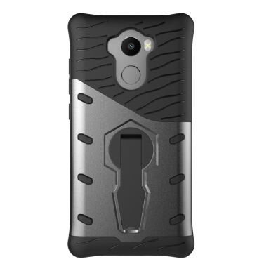 Smatton Case hp Xiaomi Redmi 4 Prime Case Armor Shockproof Hybrid Hard Soft Silicone 360 Degree Rotation Phone Cover shell Black