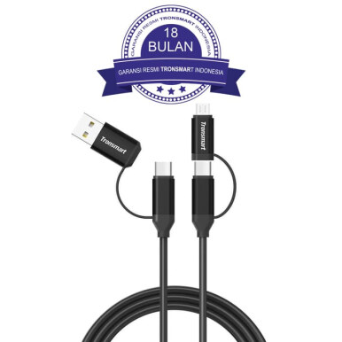 Tronsmart C4N1 4-in-1 Type-C Cable Built-in Micro USB 1M - Black/Hitam