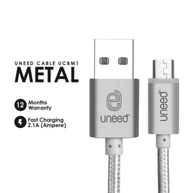 UNEED Nylon Kabel Data Micro USB Metal Quick Charge UCBM1 Fast Charging 2.1A - Original - Silver