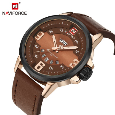NAVIFORCE Luxury Brand Watches Men Luminous Quartz Watch Day Date Clock Leather Military Watch Gold