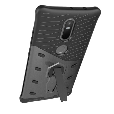 Smatton Case hp Lenovo Phab2 plus Case Armor Shockproof Hybrid Hard Soft Silicone 360 Degree Rotation Phone Cover shell Black