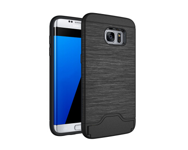 Smatton Phone Case for Samsung Galaxy S7 Edge Anti-knock Case Brushed PC + TPU Silicon Back Cover With card slot kickstand Shell Black
