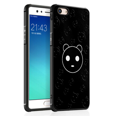 Sentum OPPO F3 Plus case High-definition embossed painted frosted skidproof hand feel phone case-Black cute-bear