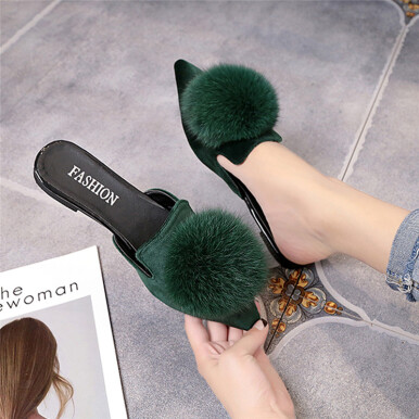 BESSKY Women Fashion Solid Color Hair Ball Pointed Toe Flat heel Sandals Slipper_ Green 35