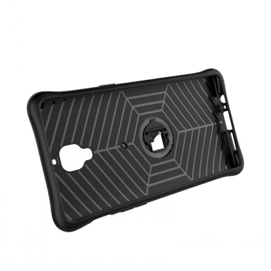 Smatton Case hp One Plus 3T Case Armor Shockproof Hybrid Hard Soft Silicone 360 Degree Rotation Phone Cover shell Black