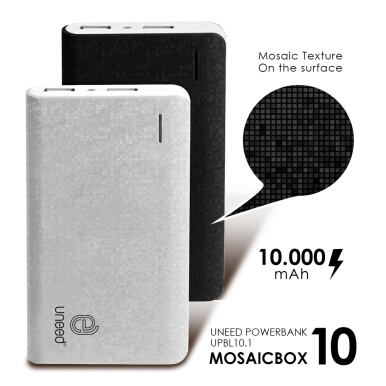 UNEED Mozaic Powerbank 10000mAh Polymer Battery - White - UPBL10.1