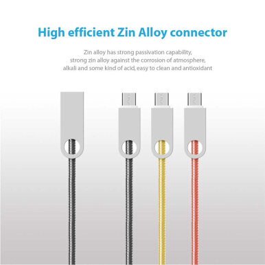 DELIVE Fast micro USB Charging Cable For Android phone Zinc alloy  Date Cable 1M for Samsung/xiaomi/OPPO Gold