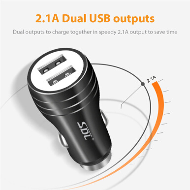DELIVE Dual Port USB Car Charger For iPhone Xiaomi Samsung 5V/2.1A Fast Charging with safety hammer Black