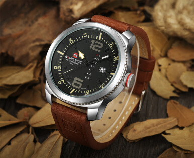 NAVIFORCE Date Quartz Watch Men Casual Military Sports Watches Leather Male Wristwatch Brown